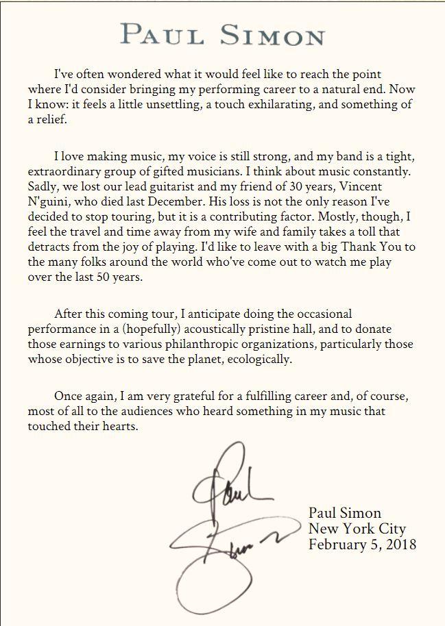 Paul Simon stops touring